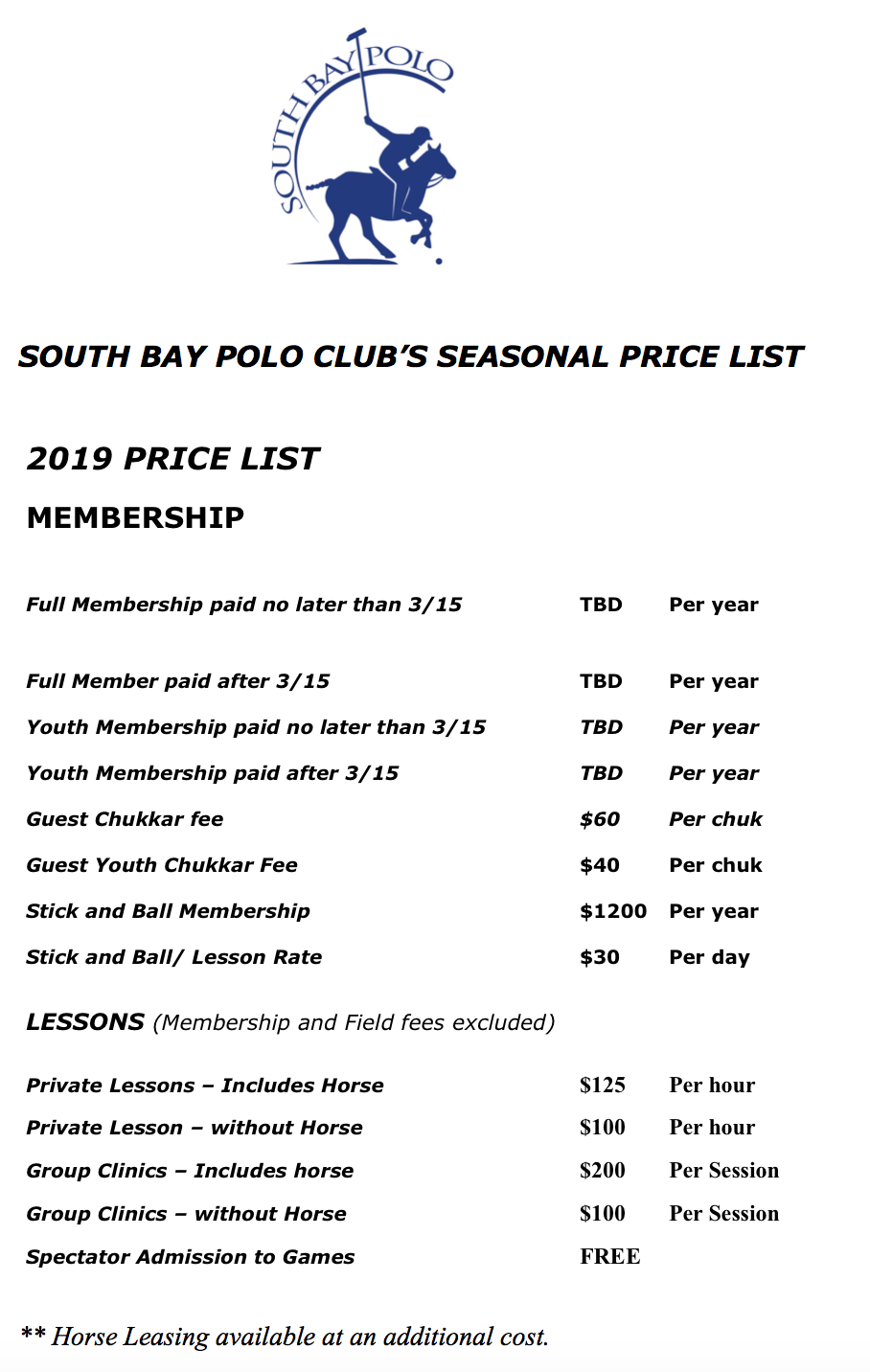 south bay polo 2019 price list